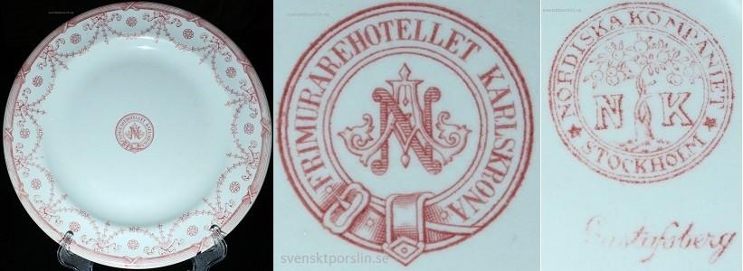 Gustafsberg, Frimurarhotellet Karlskrona, Nordiska kompaniet, tallrik diameter 24cm, modell NK.