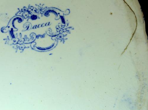 Rörstrand Dacca 1848 - ca 1900 nr04 ModA Terrin D28.8x12.3 Stämpel Rakstämpel versaler