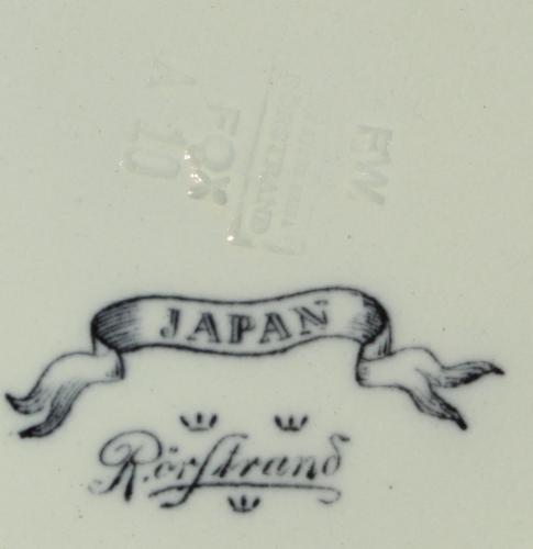 Rörstrand Japan 1866 - 1926 Nr15 ModB Djup tallrik D26 Stämpel Iron Stone China